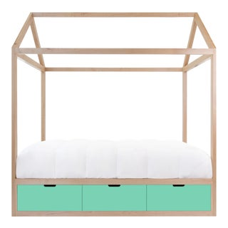 Nico & Yeye Zen Full Panel Bed with Drawers Made of Solid Maple Mint Drawers For Sale