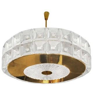 "Murano Glass & Gold Plated ""Venini Drum"" Flush Mount For Sale"