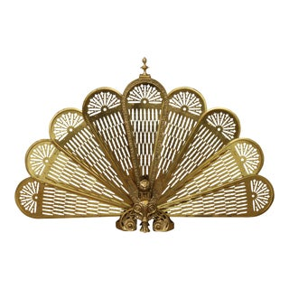 Quality Brass Peacock Folding Fireplace Screen For Sale