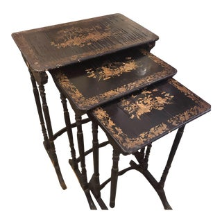 Old English Chinoiserie Nesting Tables - Set of Three For Sale