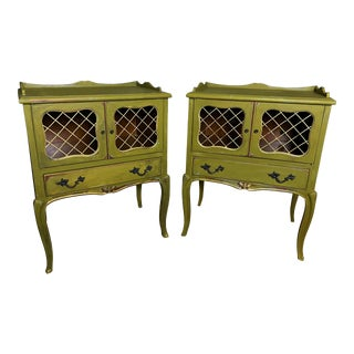 1950's Antique Emerald Green Nightstand Pair For Sale