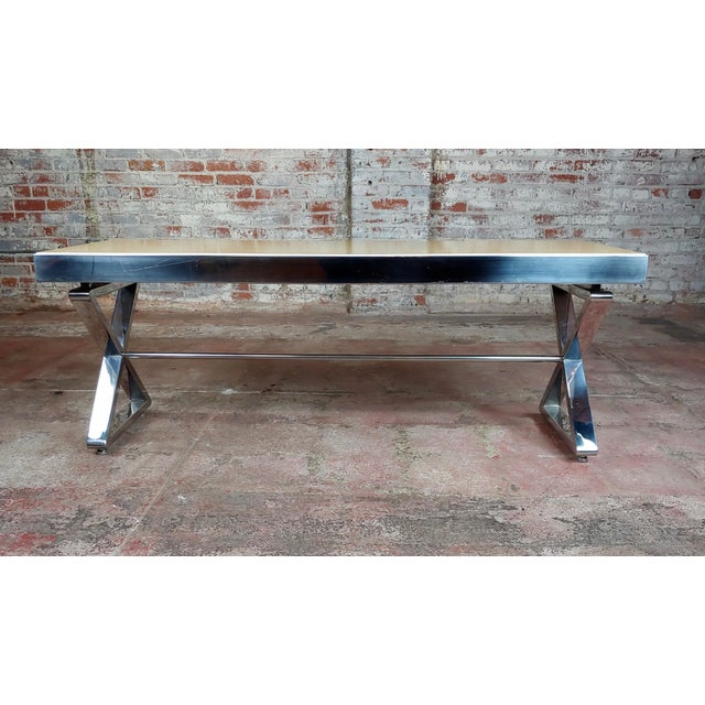 Beautiful Designer Chrome Coffee Table With Lacquered Wooden Top For Sale In Los Angeles - Image 6 of 10