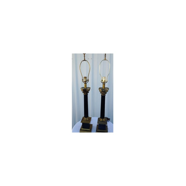 Mid-Century Modern Mid Century Modern Black and Gold Metal Lamps - a Pair For Sale - Image 3 of 8