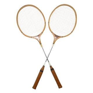 Vintage Wood Badminton Racquets, A Pair For Sale