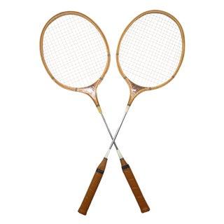 Vintage Wood Badminton Racquets, A Pair