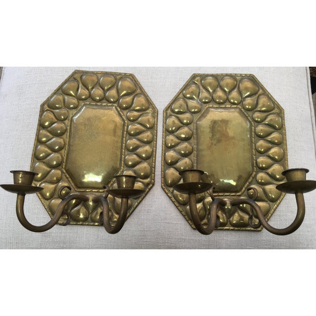 Gold Antique Continental Brass Repousse Wall Candle Sconces - a Pair For Sale - Image 8 of 13