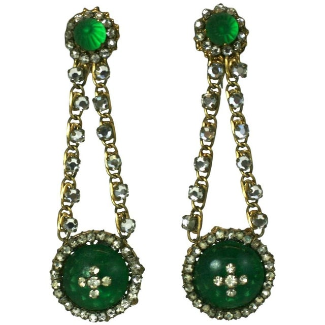 Miriam Haskell Miriam Haskell Faux Emerald Long Earrings For Sale - Image 4 of 4