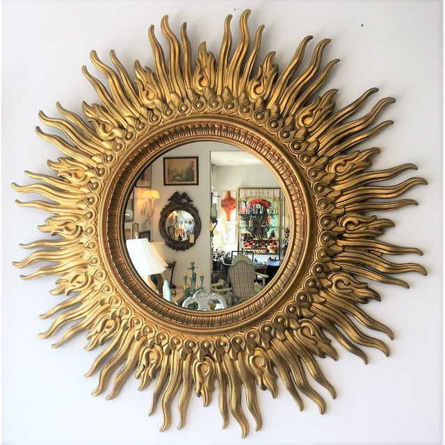 "Large Radiant Vintage Sunburst Mirror, will brighten any room. Beautiful detail. 45"" diameter overall 19"" diameter mirror"