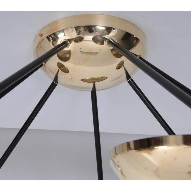 Mid-Century Modern 1 of 2 Huge Brass Sputnik Flush Mounts or Wall Lamps Attributed to Stilnovo For Sale - Image 3 of 8