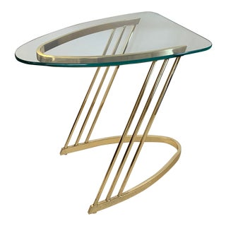 1970s Mid Century Modern Brass & Glass Triangle Cantilever Side End Table For Sale