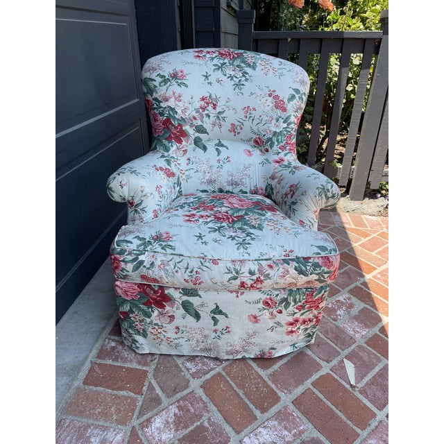 1980's Chintz Custom Fabric Arm Chair For Sale In Los Angeles - Image 6 of 6
