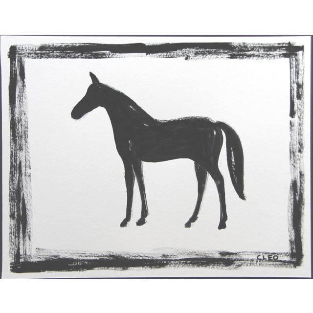 Shabby Chic Black Horse Abstract Painting by Cleo Plowden For Sale - Image 3 of 3