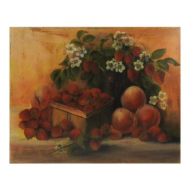 Strawberries & Peaches Still Life Painting For Sale