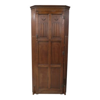 English Tiger Oak Linen Fold Wardrobe With Interior Mirror For Sale