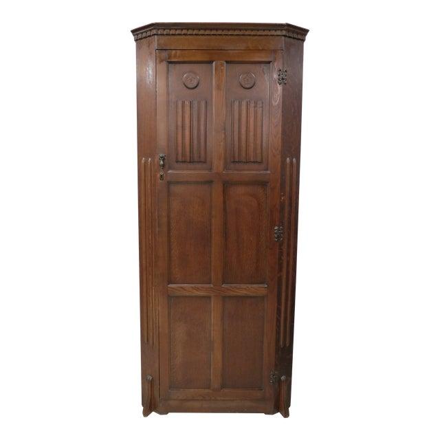 English Tiger Oak Linen Fold Wardrobe With Interior Mirror For Sale