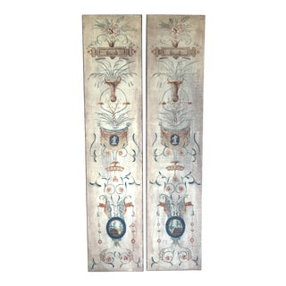Antique French Hand Painted Wall Panels, Pr For Sale