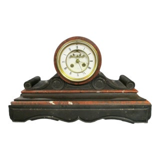 Antique French Marble Drumhead Mantel Clock by Henri Marc of Paris W/ Key C 1880 For Sale