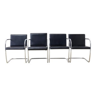 Set of Four Tubular Chrome and Leather Brno Chairs For Sale