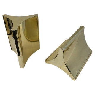 """Trilobo"" Polish Brass Dining Table Bases by Mastercraft - a Pair For Sale"
