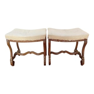 20th Century Antique Carved Walnut Benches- a Pair For Sale