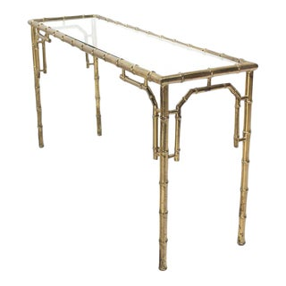 Vintage Mid Century Faux Bamboo Metal and Glass Console For Sale