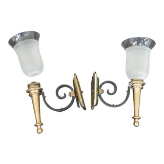 Vintage Brass & Iron Electrified Wall Sconces - a Pair For Sale