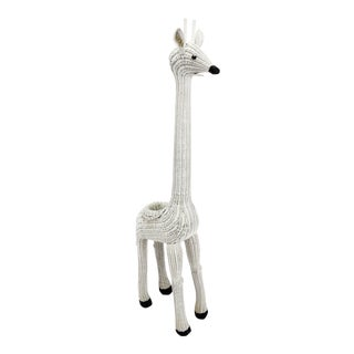 "Vintage White Wicker 61"" Giraffe Planter For Sale"