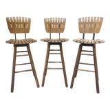 Image of Vintage Arthur Umanoff Style Tall Wood Slat Swivel Bar Stools For Sale