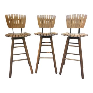 Vintage Arthur Umanoff Style Tall Wood Slat Swivel Bar Stools For Sale