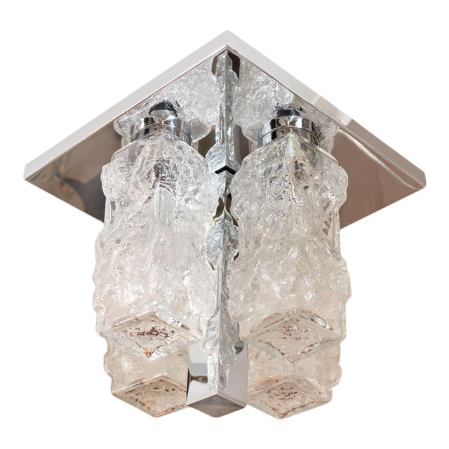 Vintage Petite Square Polished Nickel and Ice Glass Flush Mount For Sale