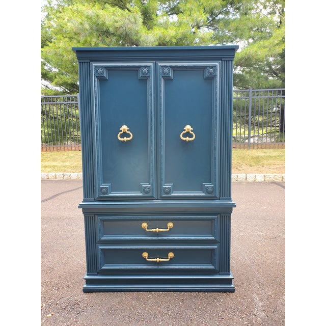 Vintage Moscow Midnight Blue Armoire For Sale - Image 10 of 12