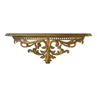 1950s Vintage Florentine Style Gilded Wall Shelf For Sale