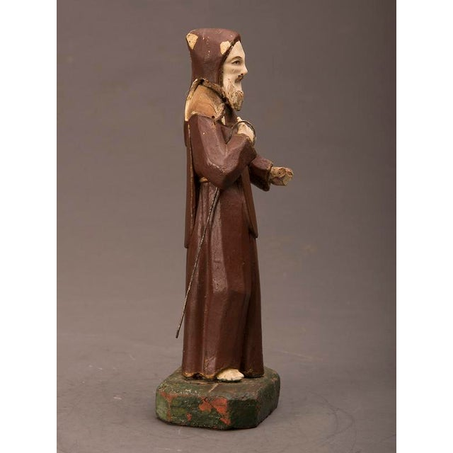 Early 19th Century 19th century Spanish Carved & Painted St. Francis of Assisi Statue For Sale - Image 5 of 6
