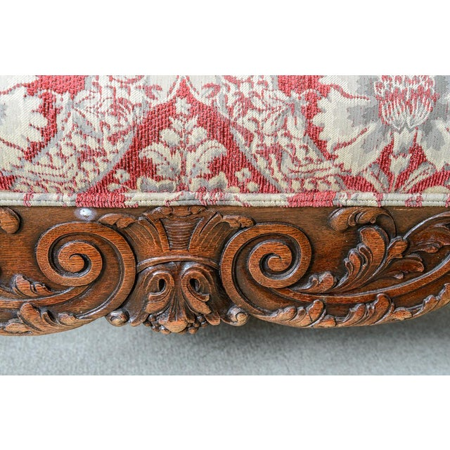 Late 19th Century Large Upholstered Oak Settee For Sale - Image 5 of 8