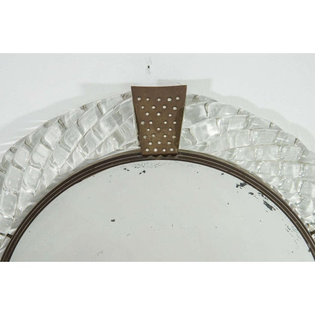 Italian Italian Murano Art Glass and Bronze Wall or Vanity Mirror For Sale - Image 3 of 10