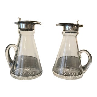 1930s Americana Sterling and Glass Whiskey Noggins - a Pair