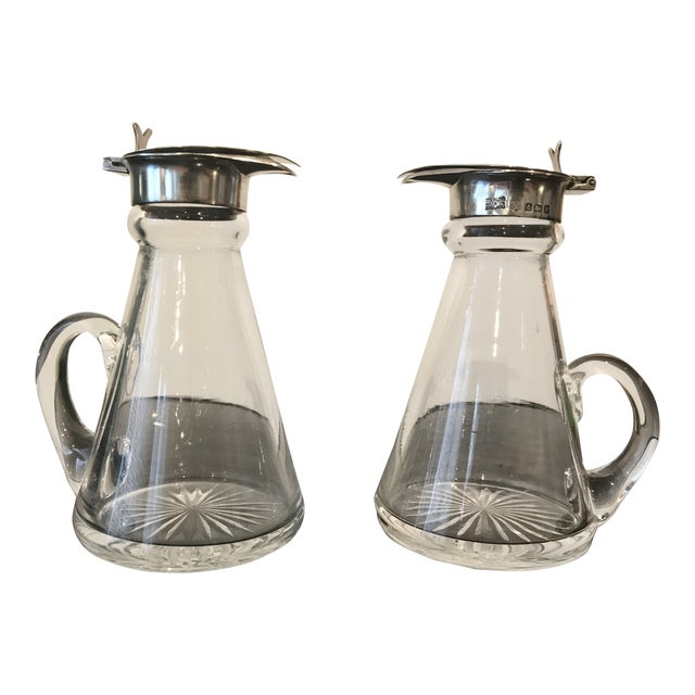 Pair of Sterling and Glass Whiskey Noggins - Birmingham 1930s For Sale