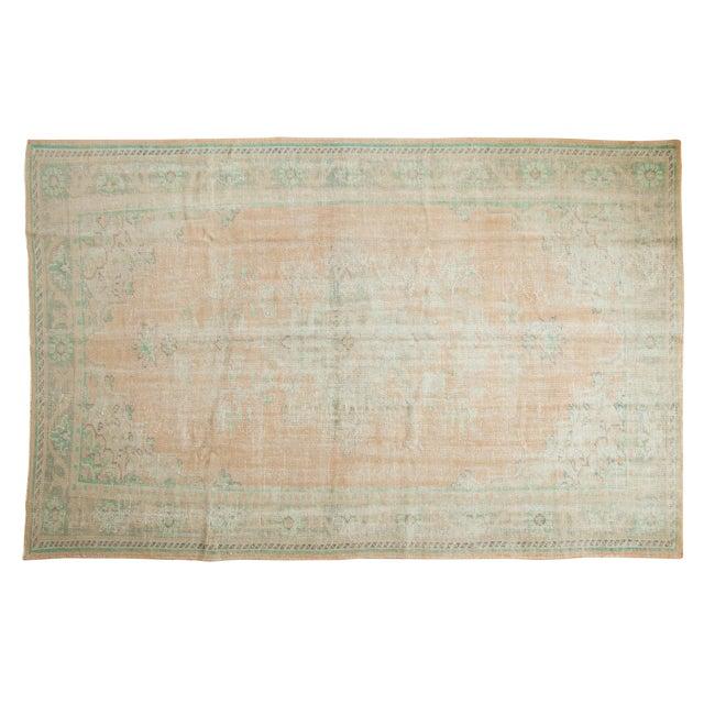 "Vintage Distressed Oushak Carpet - 6'4"" X 9'10"" For Sale"