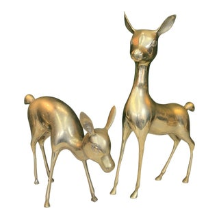 Large Pair of Brass Deer For Sale