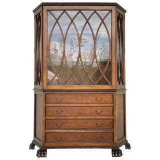 French Art Nouveau Fruitwood Wooden Showcase Vitrine With Four Drawers For Sale