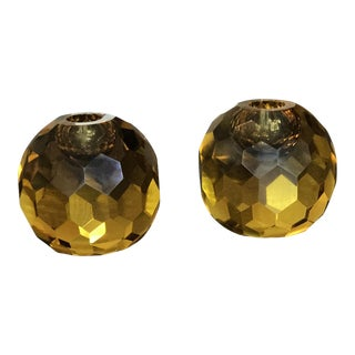 """Mid-Century Italian Murano Amber Glass """"Diamond Cut"""" Candle Holders - A Pair For Sale"""