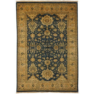 "Ottoman Hand Knotted Blue & Gold Wool Area Rug - 5' 2"" X 7' 5"""