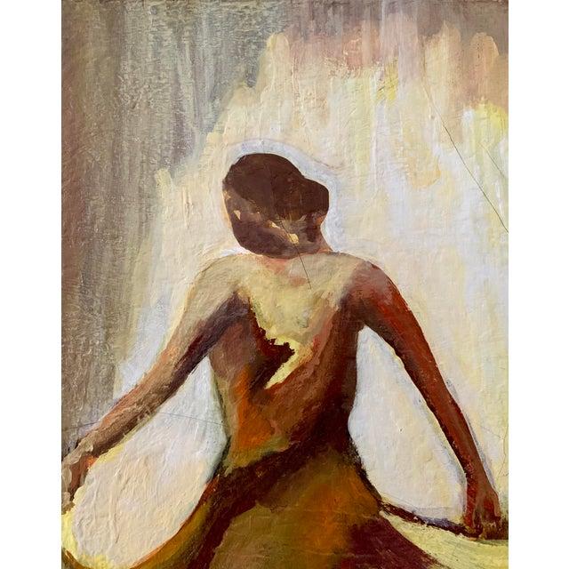 Vintage Female Dancer Portrait Oil on Canvas Painting For Sale - Image 4 of 8