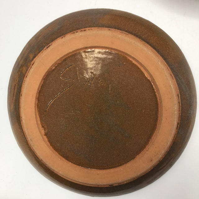Boho Chic Studio Pottery Brown Clay & Glaze Plates - Set of 6 For Sale - Image 3 of 5