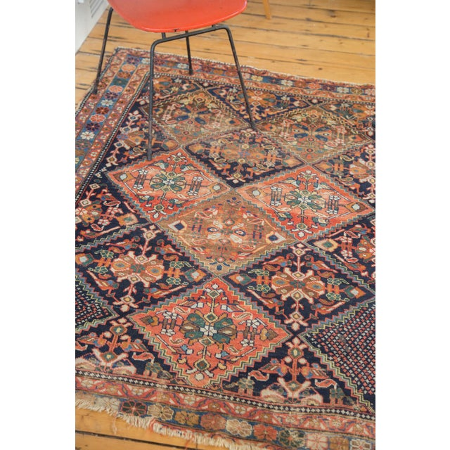 "Antique Distressed Afshar Square Rug - 4'4"" X 5'7"" - Image 5 of 9"