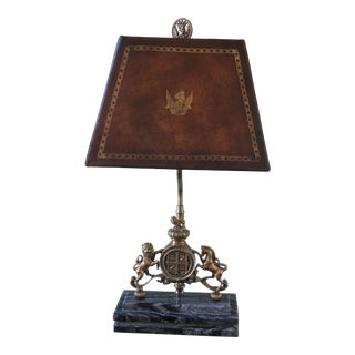 Theodore Alexander Bronze & Marble Base Lamp W. Leather Shade For Sale