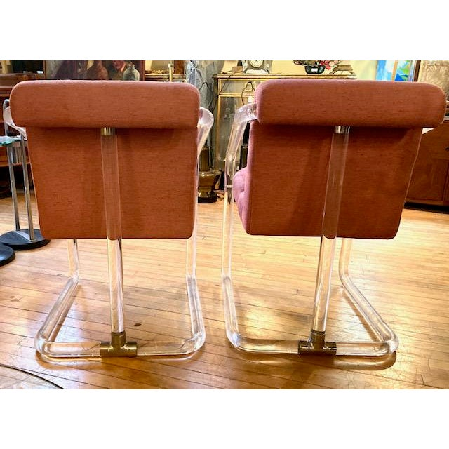 1970s Lucite Hollywood Regency Style Chairs-a Pair For Sale - Image 11 of 13
