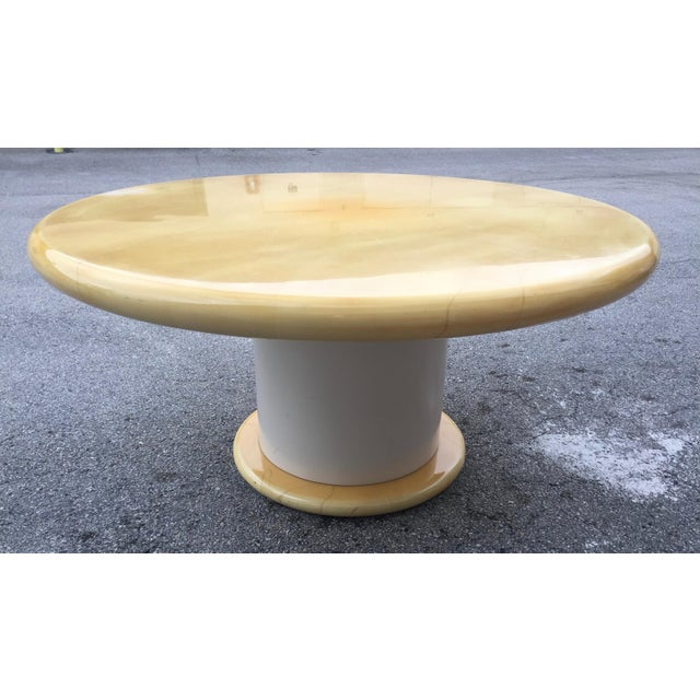 1970s 1970s Mid-Century Modern Karl Springer Lacquered Faux Goatskin Dining Table For Sale - Image 5 of 5