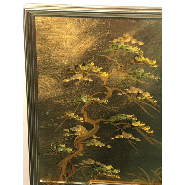Late 20th Century La Barge Hand Painted Gold Leaf Eglomise Mirror For Sale - Image 5 of 9