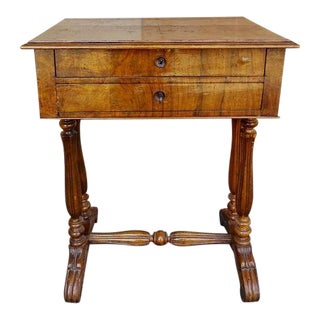 French Walnut and Burl Wood Vanity Armoire Stand Desk For Sale